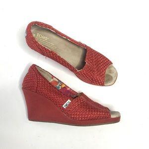 Toms Woven Fabric Wedge Peep Toe Heel Red Classic